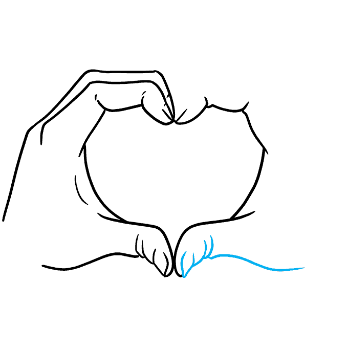 How to Draw Heart Hands Step 07
