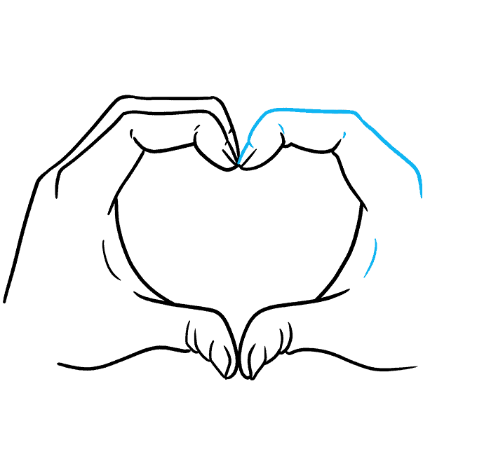 How to Draw Heart Hands Step 08