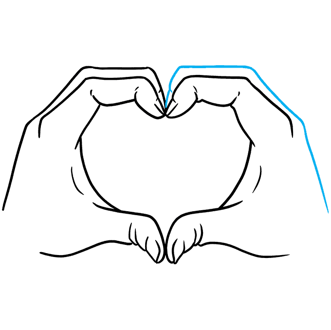 How to Draw Heart Hands Step 09