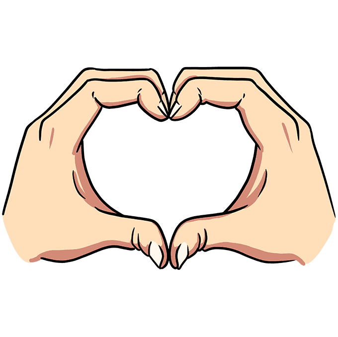 How to Draw Heart Hands Step 10