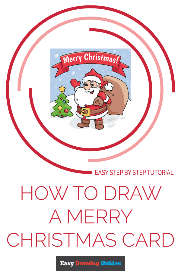 How to Draw a Merry Christmas Card Pinterest Image