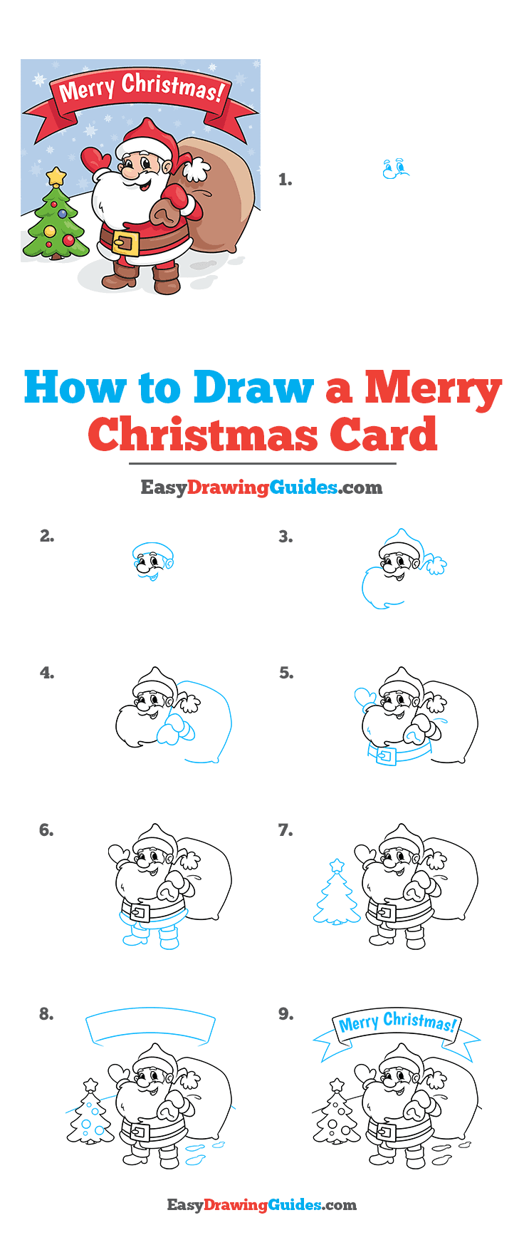 How to Draw a Merry Christmas Card Step by Step Tutorial Image