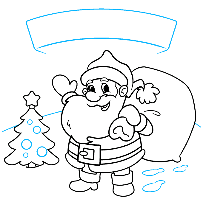 How to Draw a Merry Christmas Card Step 08