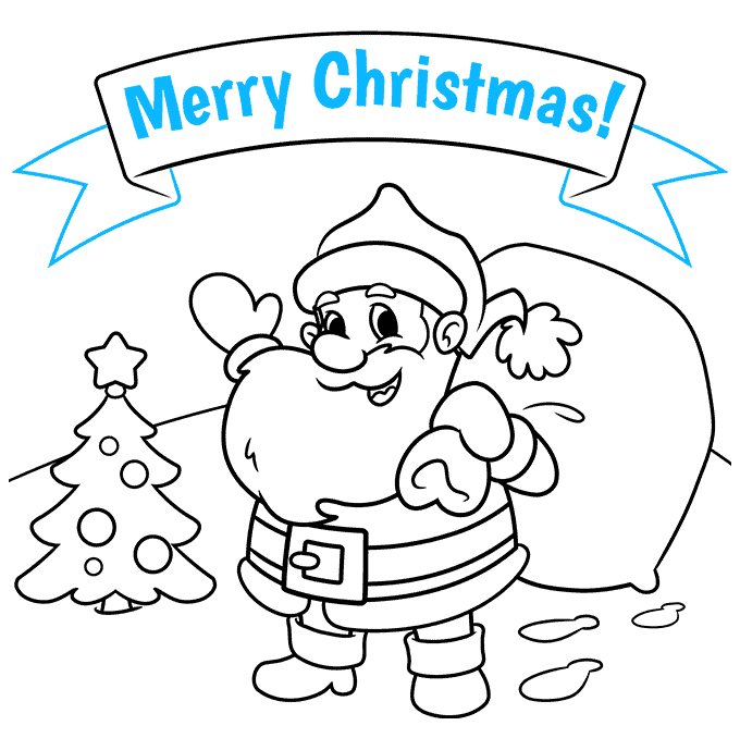 How to Draw a Merry Christmas Card Step 09