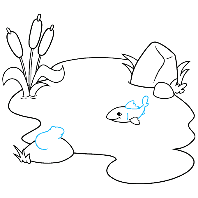 How to Draw a Pond Step 05