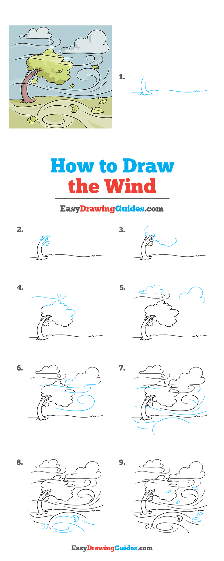 How to Draw the Wind Step by Step Tutorial Image