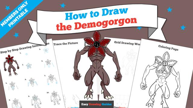 download a printable PDF of Demogorgon drawing tutorial