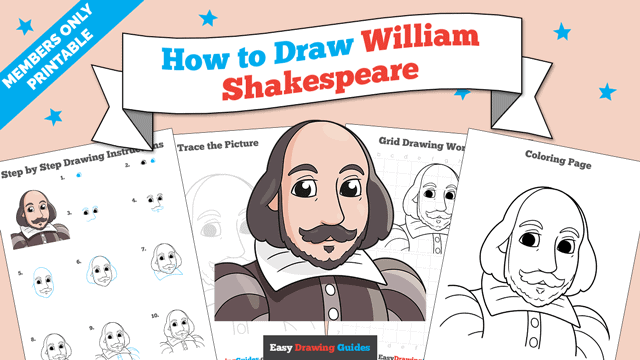 download a printable PDF of William Shakespeare drawing tutorial