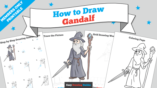 Printables thumbnail: How to Draw Gandalf
