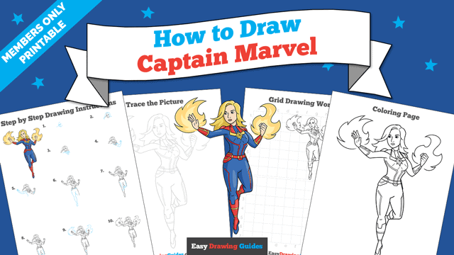Printables thumbnail: How to Draw Captain Marvel