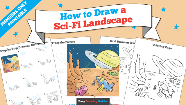 Printables thumbnail: How to Draw a Sci-Fi Landscape