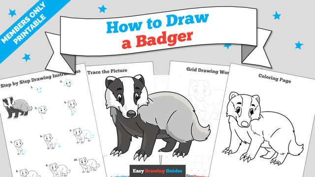 Printables thumbnail: How to Draw a Badger