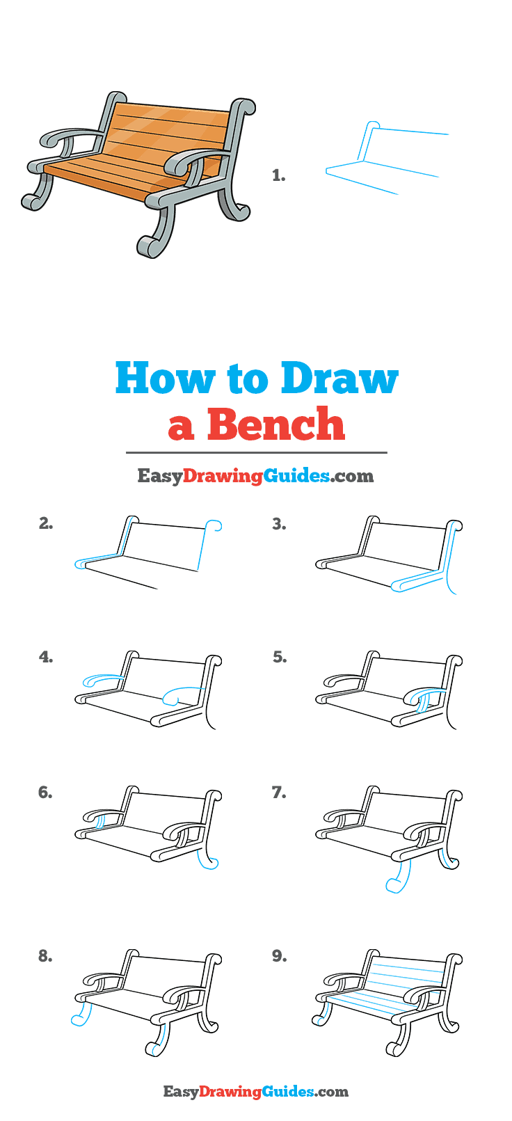 How to Draw a Bench Step by Step Tutorial Image