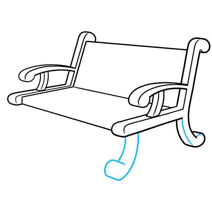 How to Draw a Bench Step 07
