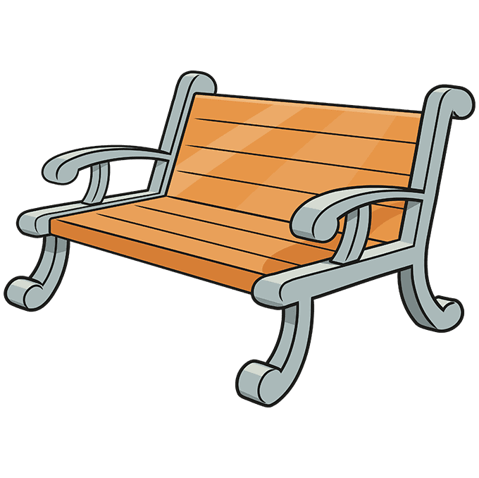 How to Draw a Bench Step 10