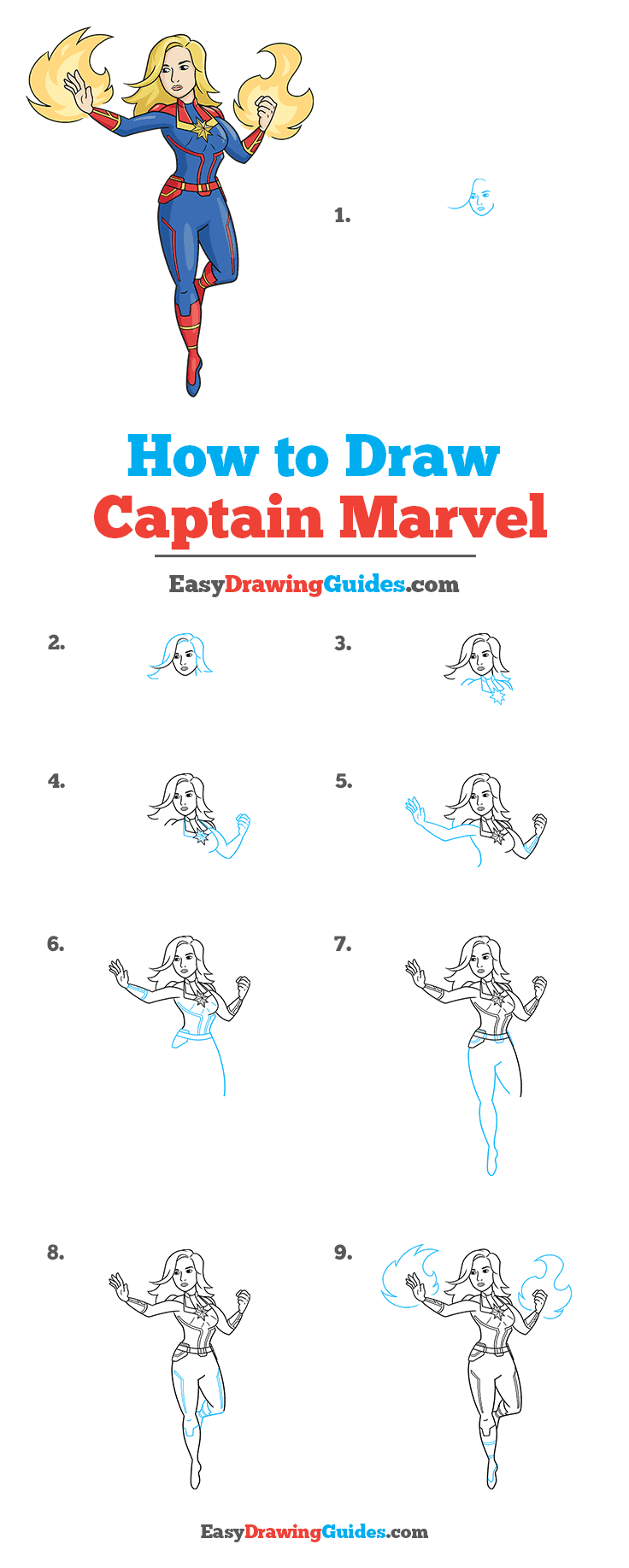 How to Draw Captain Marvel Step by Step Tutorial Image