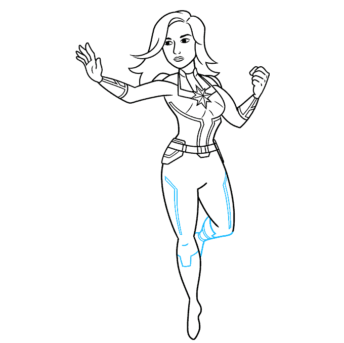 How to Draw Captain Marvel Step 08