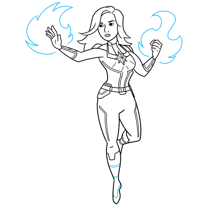 How to Draw Captain Marvel Step 09