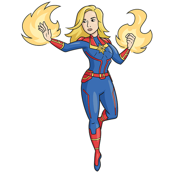 How to Draw Captain Marvel Step 10