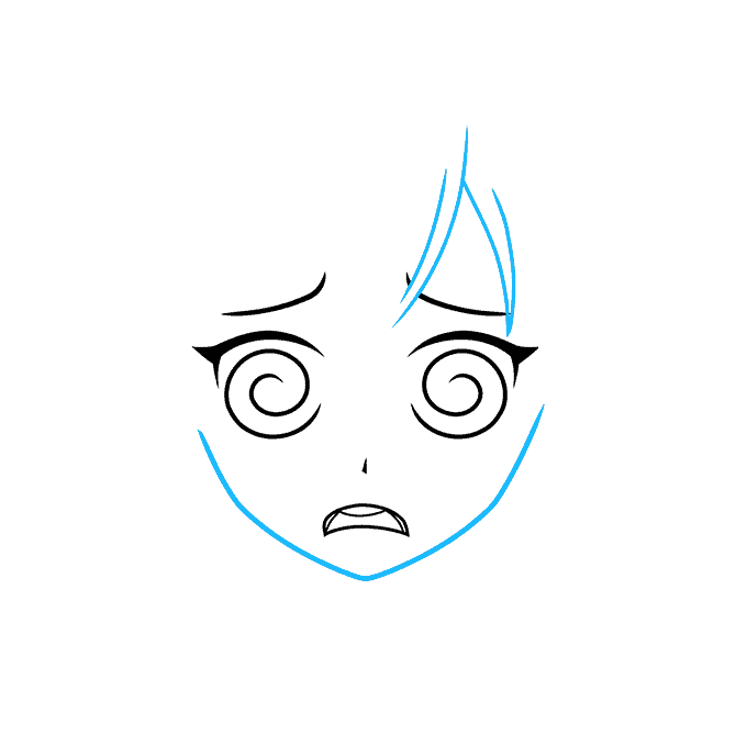 How to Draw a Confused Anime Face Step 03