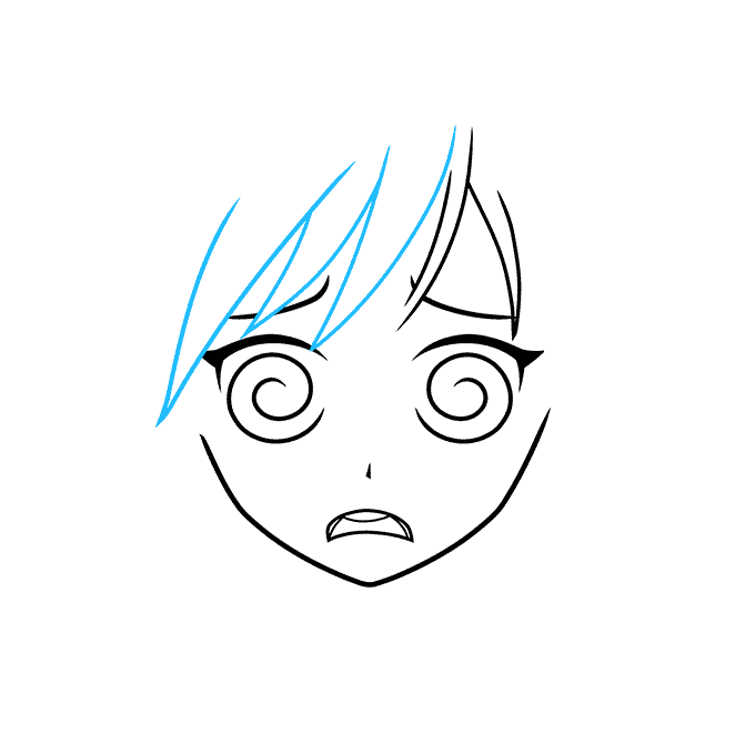 How to Draw a Confused Anime Face Step 04