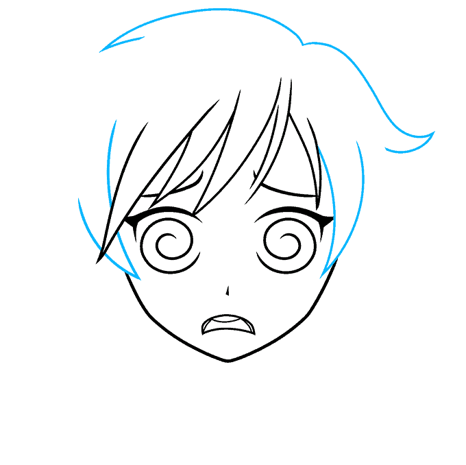 How to Draw a Confused Anime Face Step 05