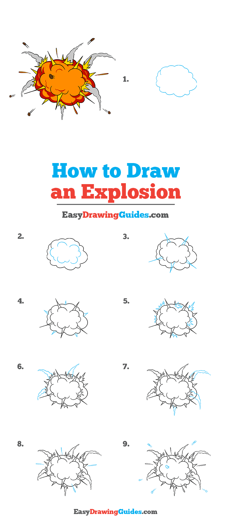 How to Draw an Explosion Step by Step Tutorial Image