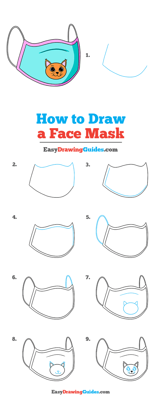 How to Draw a Face Mask Step by Step Tutorial Image