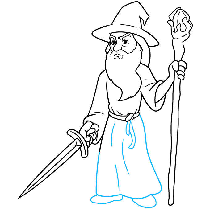 How to Draw Gandalf Step 09