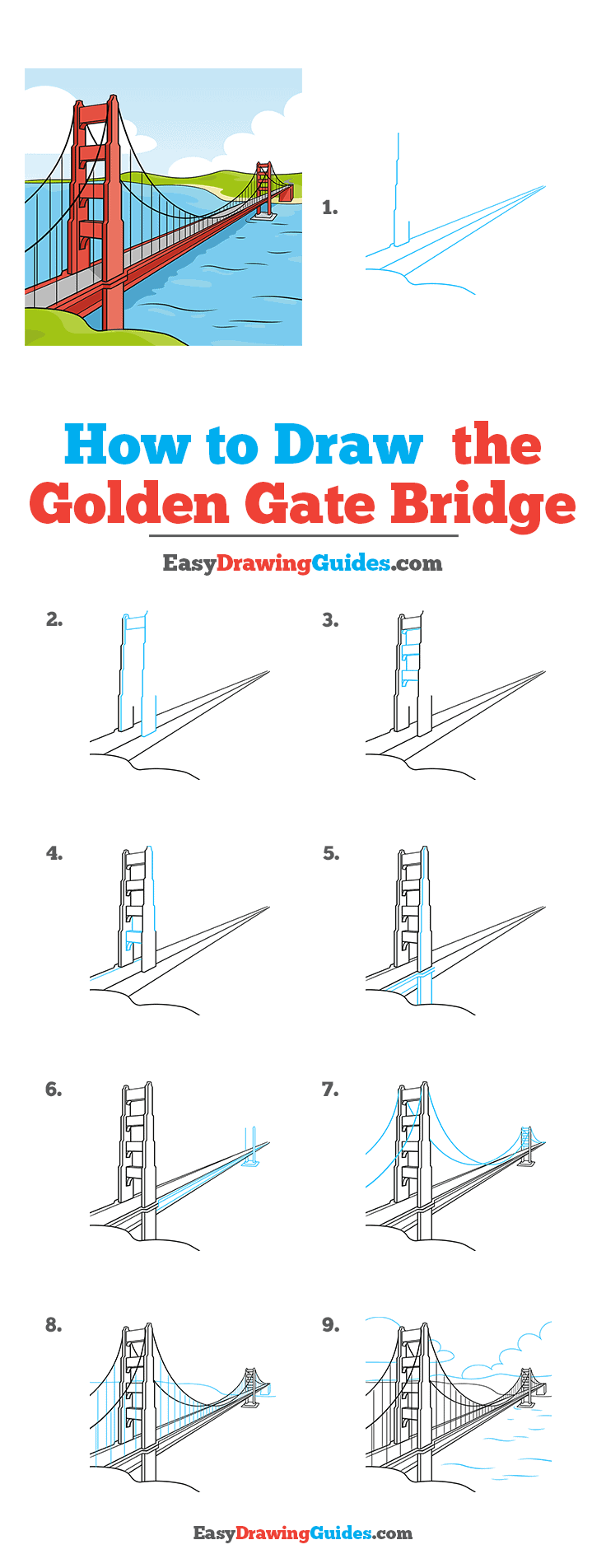 How to Draw the Golden Gate Bridge Step by Step Tutorial Image