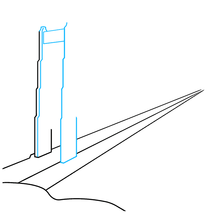 How to Draw the Golden Gate Bridge Step 02