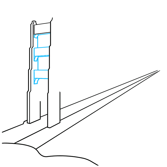 How to Draw the Golden Gate Bridge Step 03