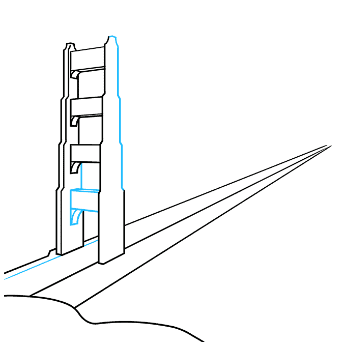 How to Draw the Golden Gate Bridge Step 04