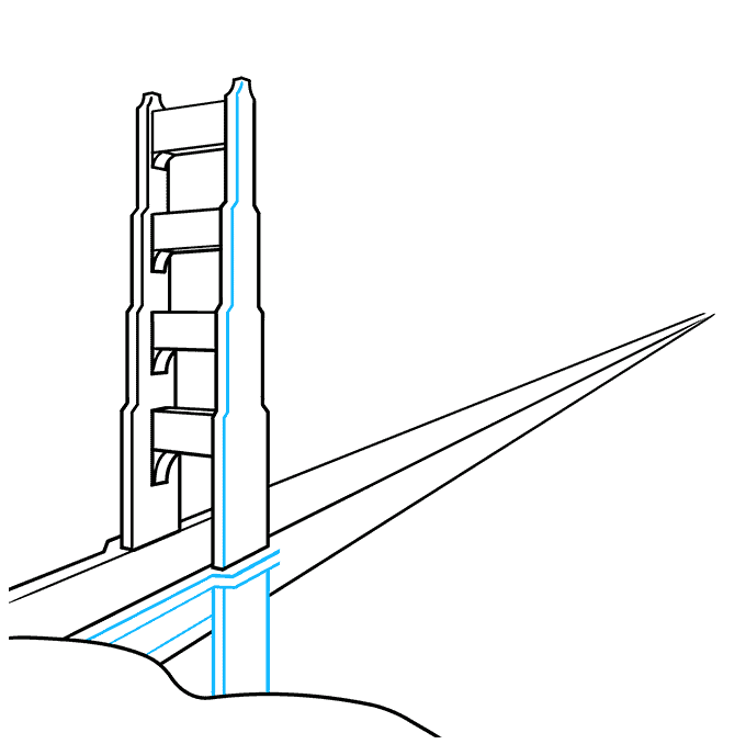 How to Draw the Golden Gate Bridge Step 05