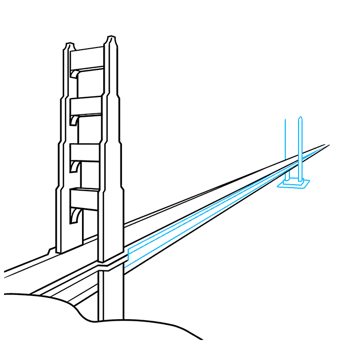 How to Draw the Golden Gate Bridge Step 06