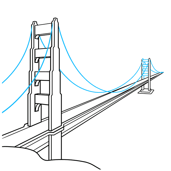 How to Draw the Golden Gate Bridge Step 07