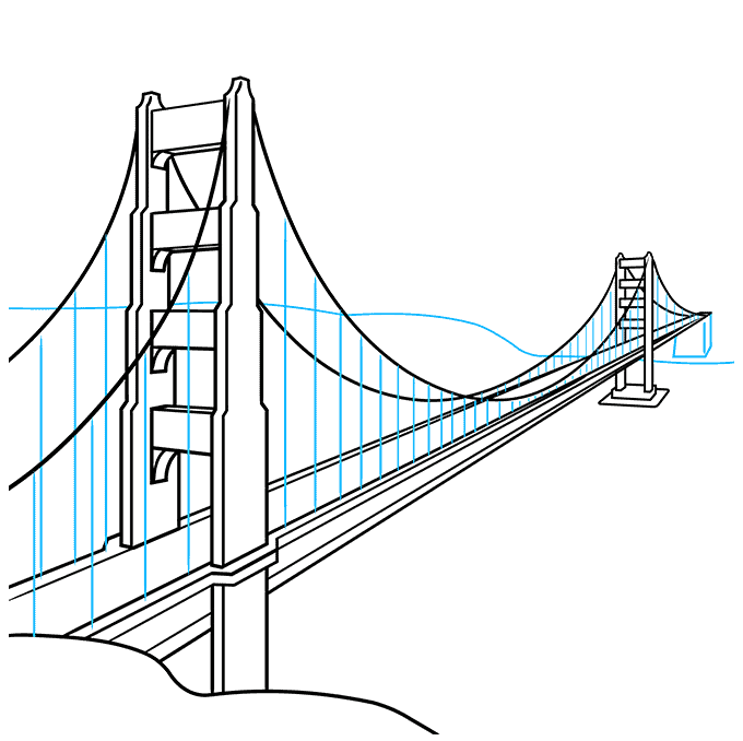 How to Draw the Golden Gate Bridge Step 08