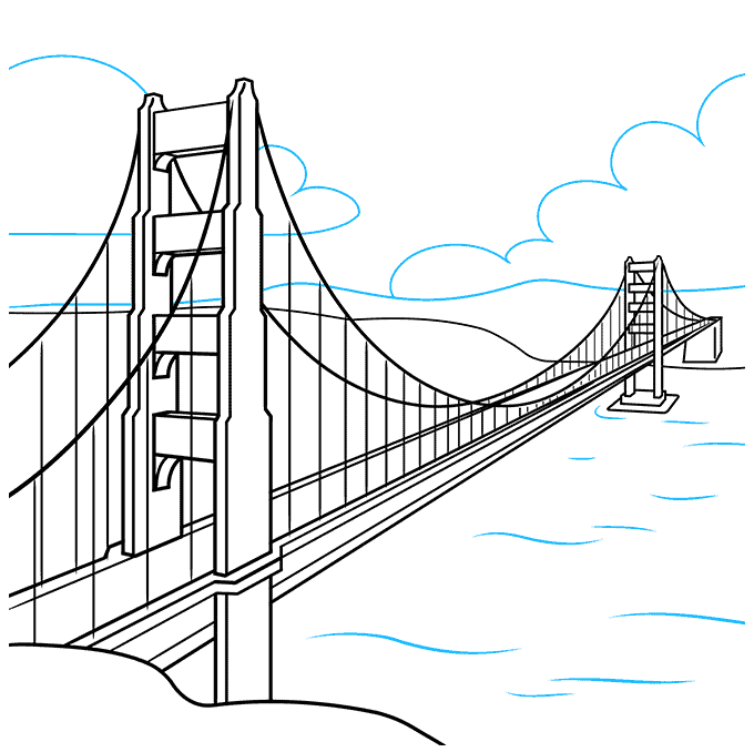 How to Draw the Golden Gate Bridge Step 09
