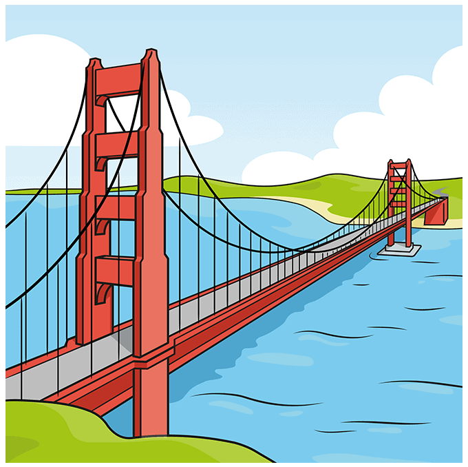 How to Draw the Golden Gate Bridge Step 10