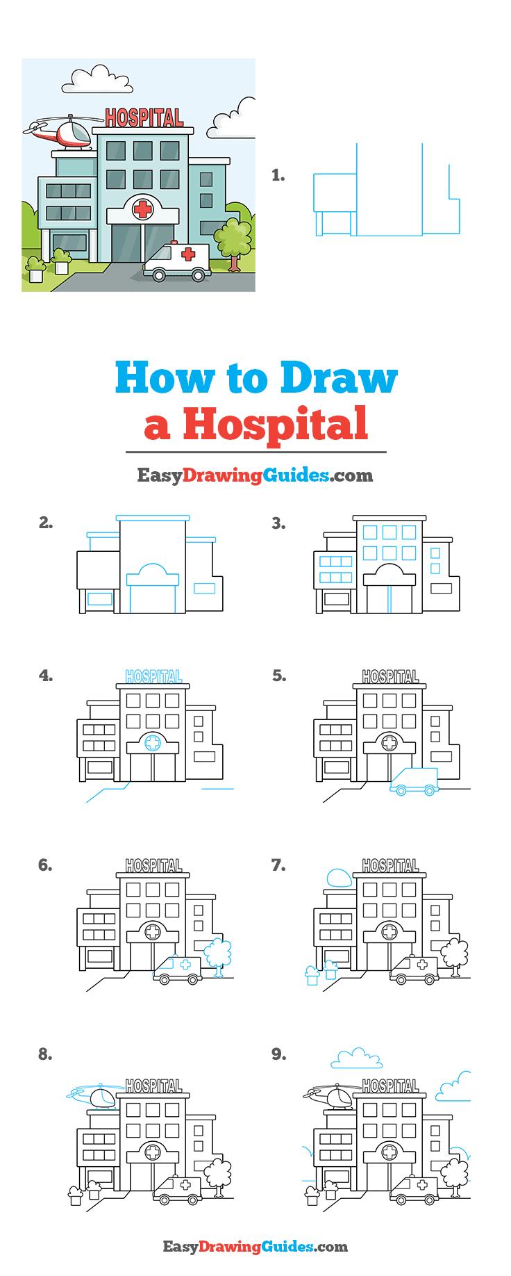 How to Draw a Hospital Step by Step Tutorial Image