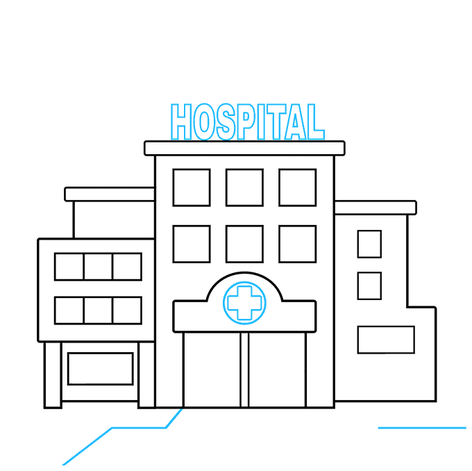 How to Draw a Hospital Step 04