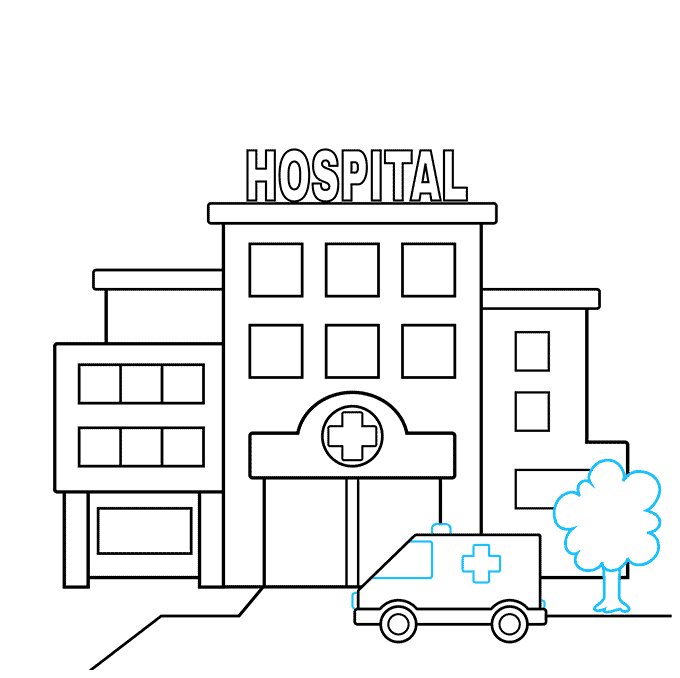 How to Draw a Hospital Step 06
