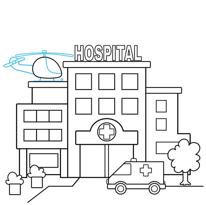 How to Draw a Hospital Step 08