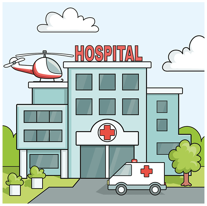 How to Draw a Hospital Step 10