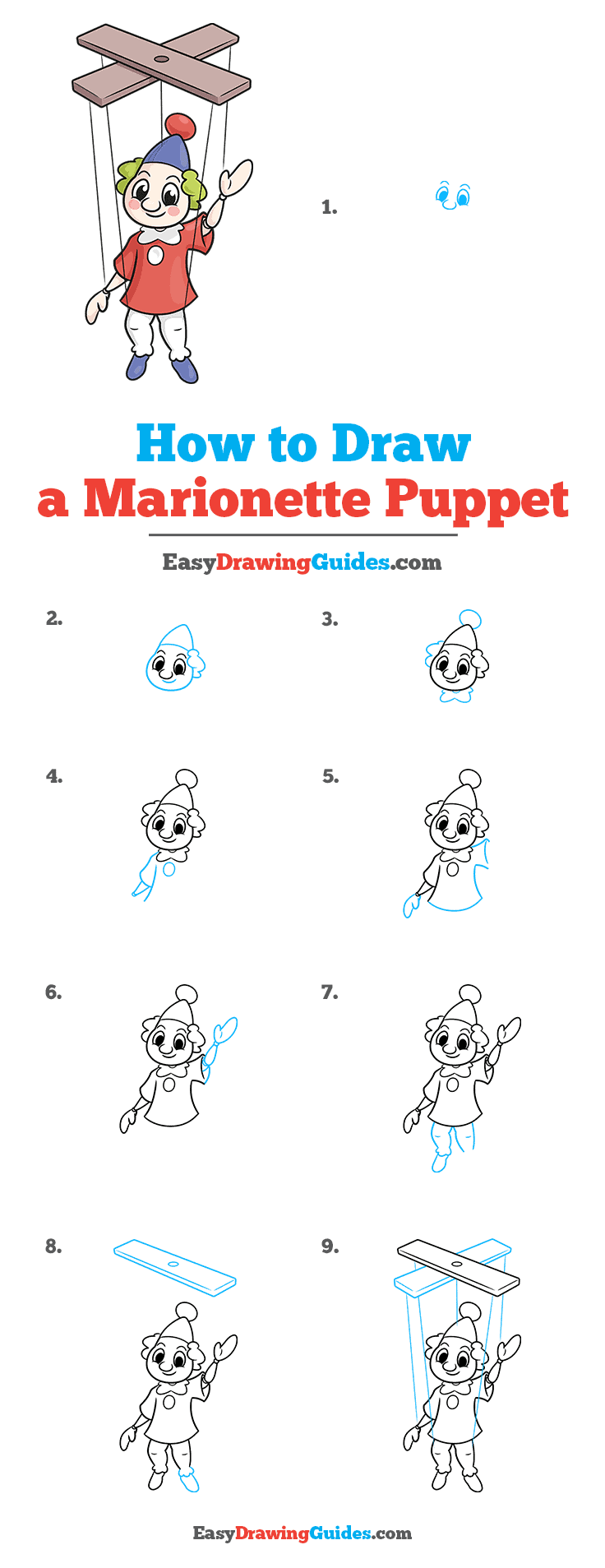 How to Draw a Marionette Puppet Step by Step Tutorial Image