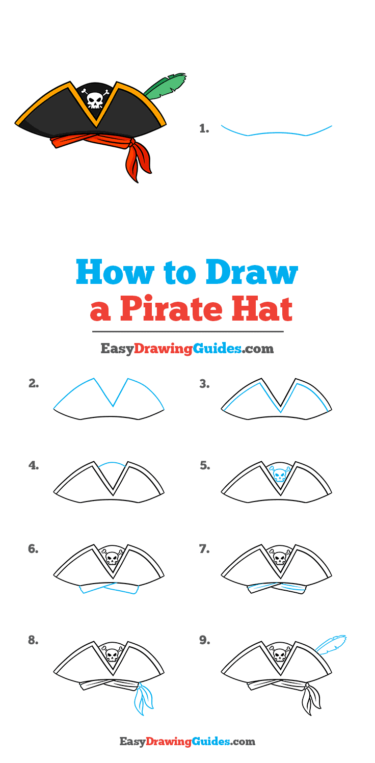 How to Draw a Pirate Hat Step by Step Tutorial Image