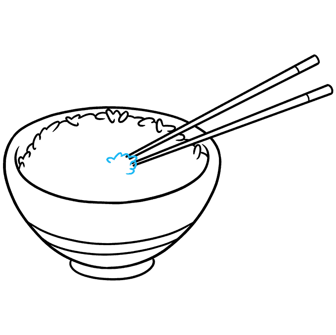 How to Draw Rice and Chopstick Step 07