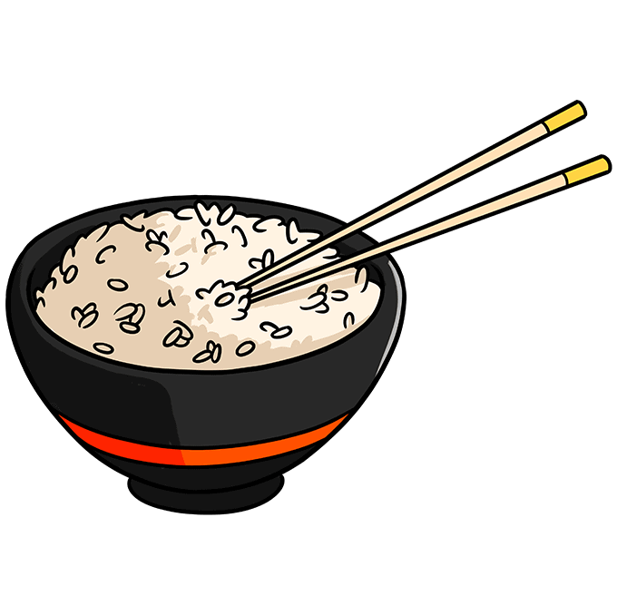 How to Draw Rice and Chopstick Step 10