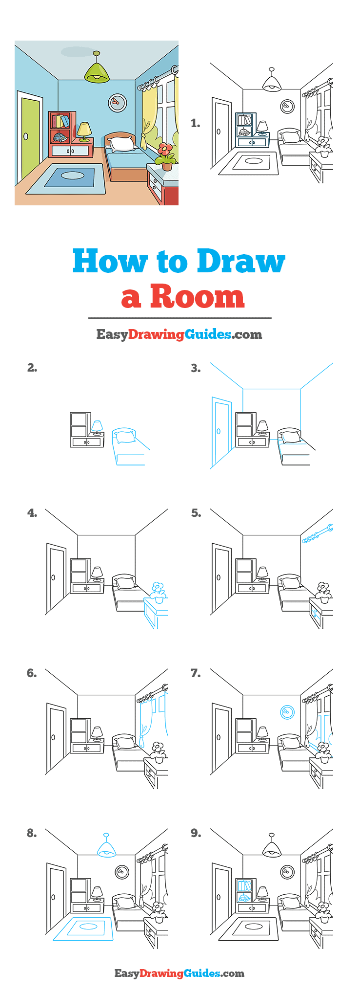 How to Draw a Room Step by Step Tutorial Image