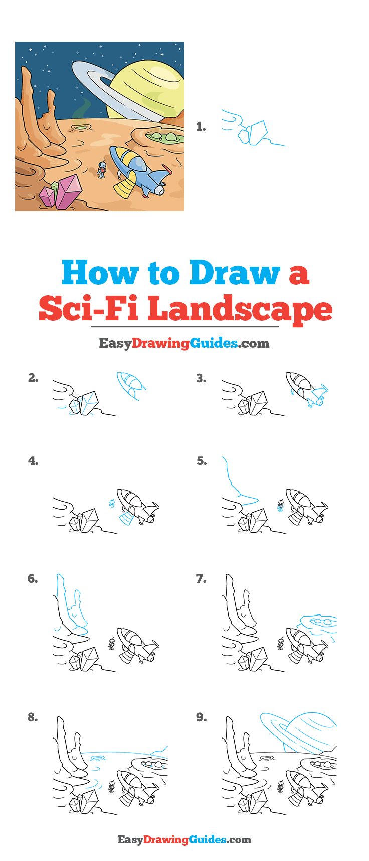 How to Draw a Sci-Fi Landscape Step by Step Tutorial Image
